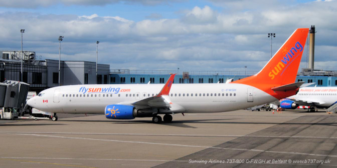 Sunwing Airlines 737-800 C-FWGH at Belfast