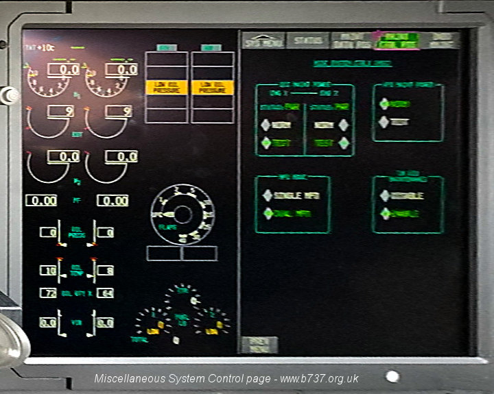 737 MAX Inner DU - EIS and Miscellaneous System Control Page