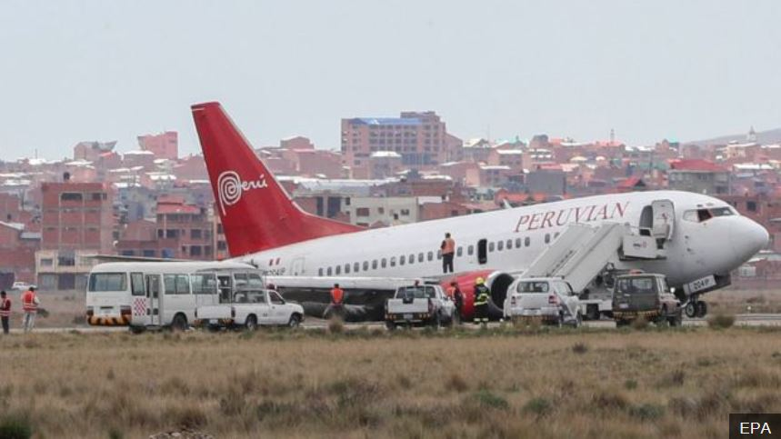 Peruvian Airlines 737-500 OB-2041-P MLG collapse on landing at La Paz.