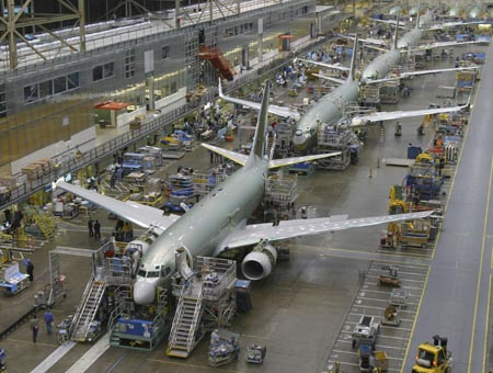 737 moving production line