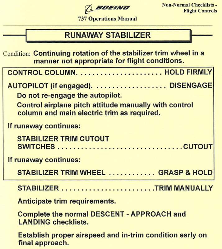 737 Runaway Stabilizer Procedure