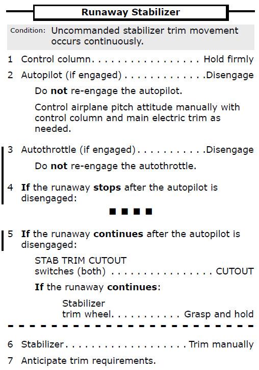 737 Runaway Stabilizer Procedure